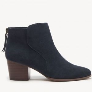 Sole Society Blue Suede Back ZIp Heeled Booties 11